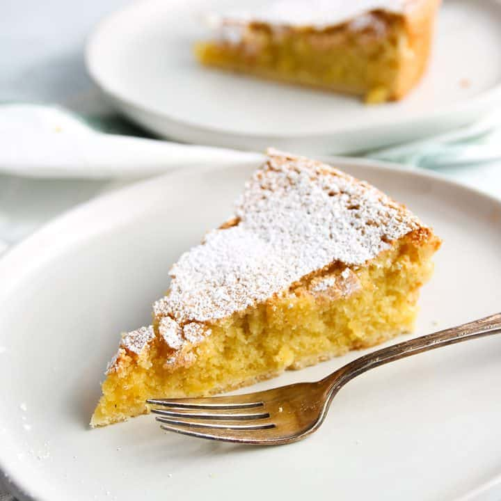 Slice of Galician Almond Tart on a white plate