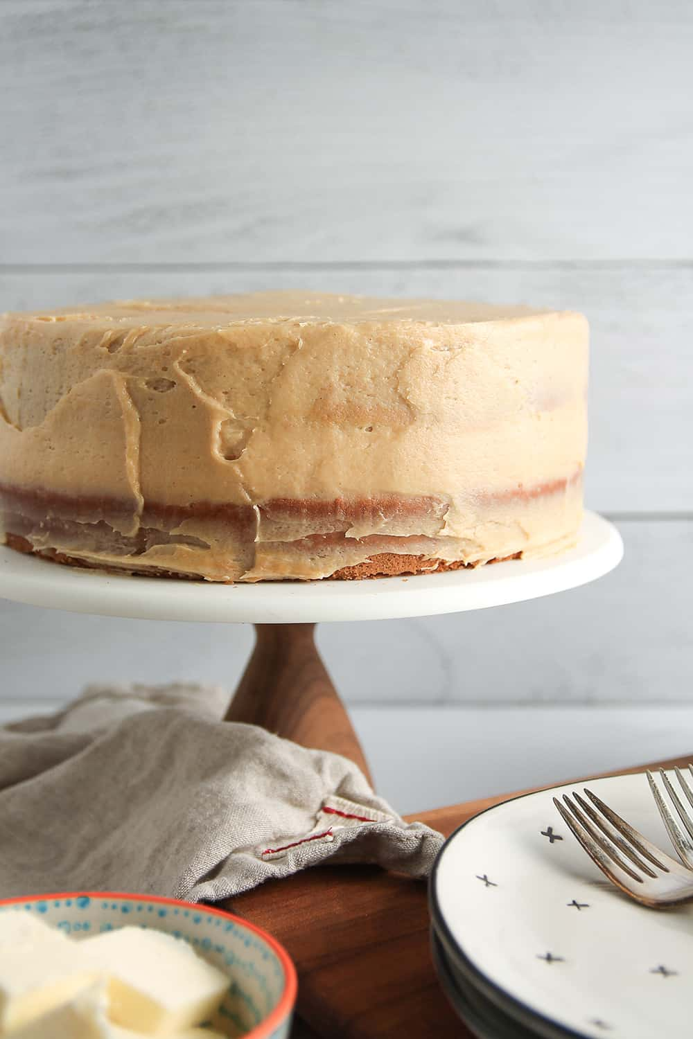 Frost Peanut Butter Cake with peanut butter cream cheese frosting for a dessert perfect for any peanut butter lover.