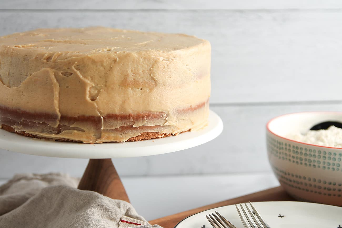 Peanut Butter Cake is covered in peanut butter cream cheese icing for a decadent and delicious cake.