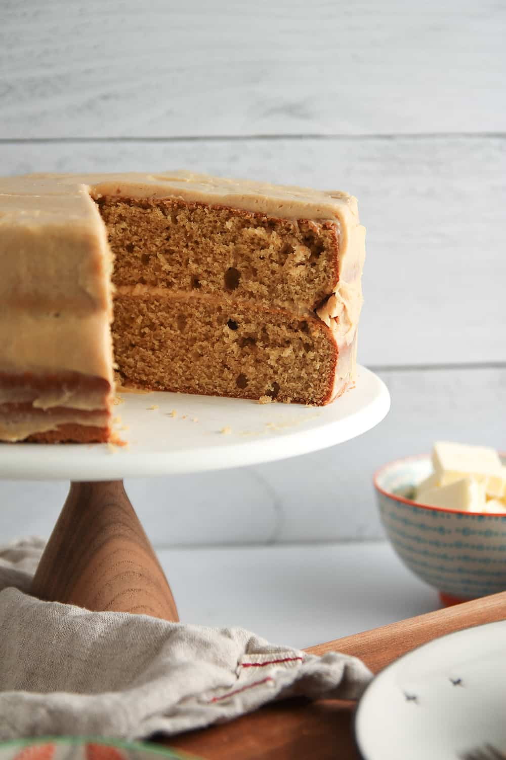 Layers of Peanut Butter Cake are frosted with peanut butter cream cheese frosting for a very peanut buttery dessert!