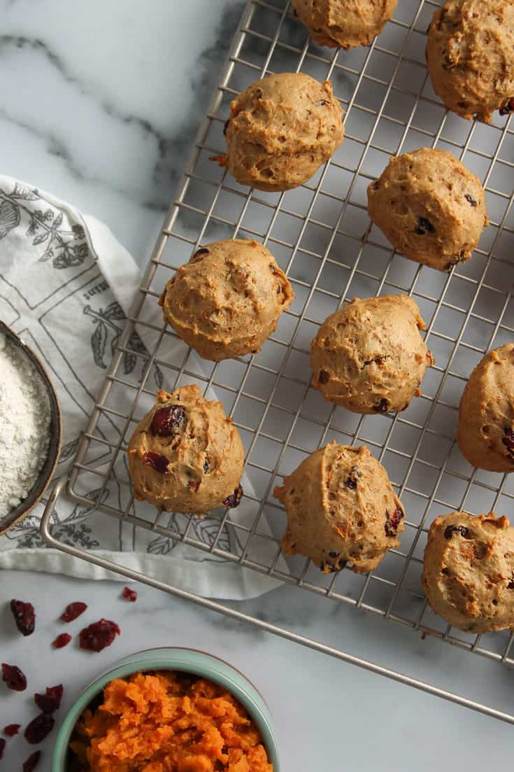 Soft and cakey Sweet Potato Cookies are full of sweet potato, dried cranberries and chopped pecans.