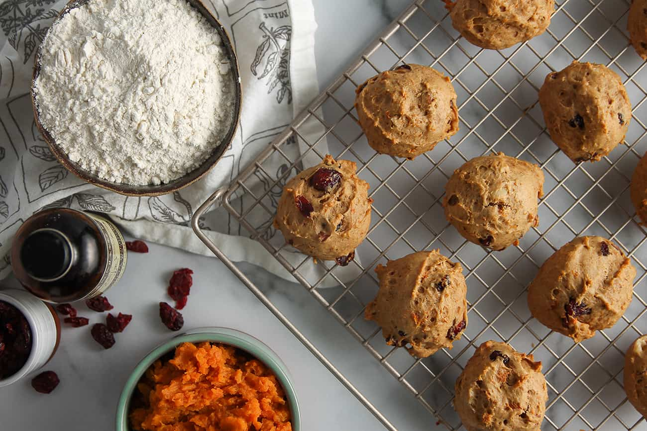 Sweet Potato Cookies are full of sweet potato, dried cranberries and chopped pecans.