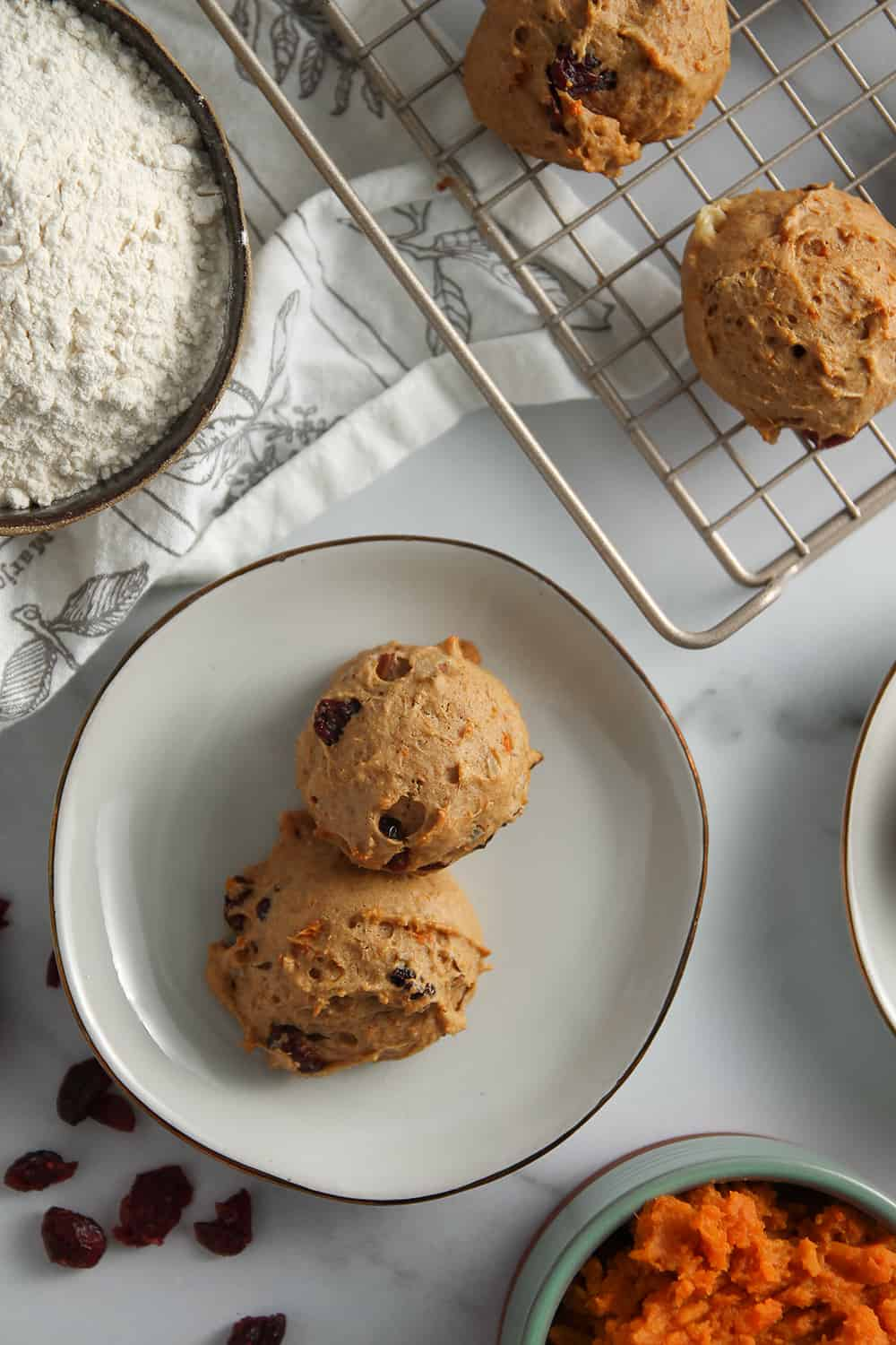 Sweet Potato Cookies are easy to make and are full of sweet potato and dried cranberries.