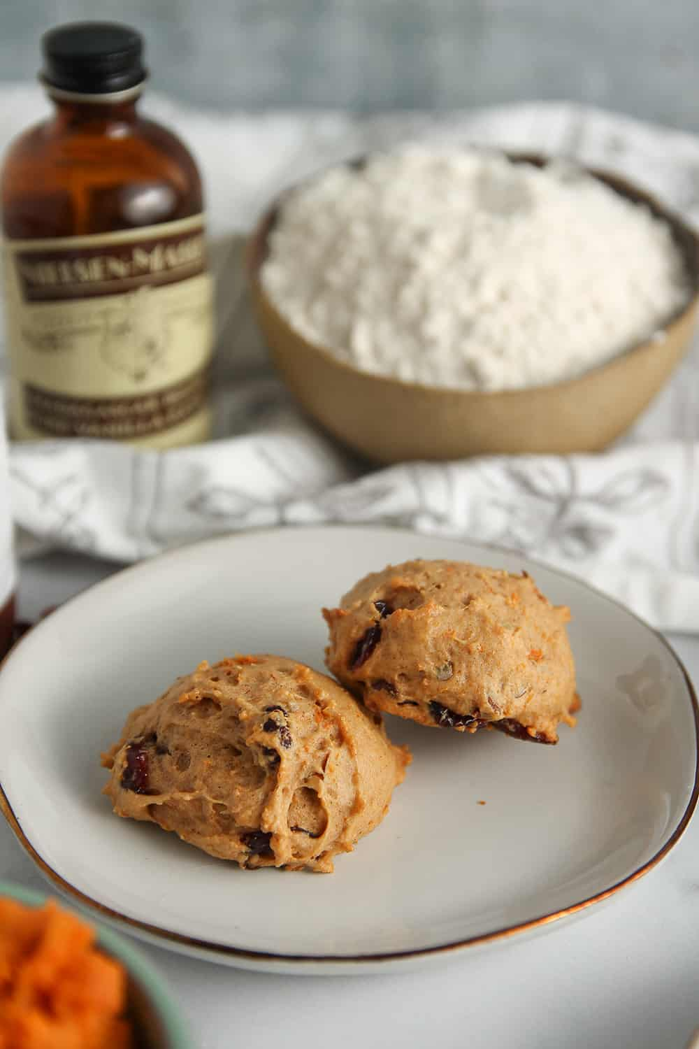 Sweet Potato Cookies are soft, cakey, and full of sweet potato and dried cranberries.