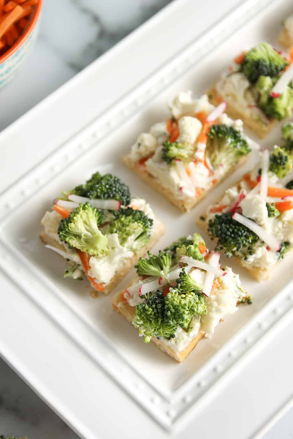 Vegetable Pizza is a staple appetizer in the Midwest