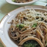 Light Broccoli and Mushroom Linguine