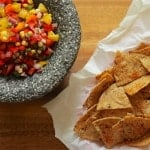 Four Pepper and Corn Salsa with Baked Chili Lime Tortilla Chips