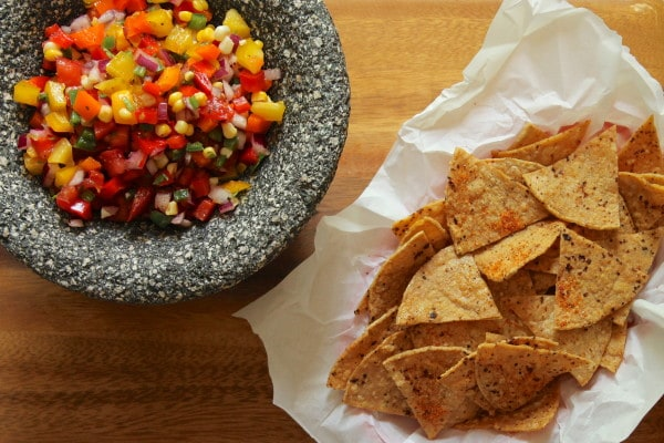Four pepper salsa and chili lime chips