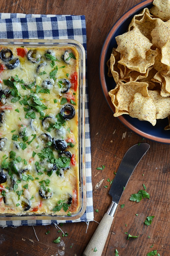 cheesy warm bean dip edible mosaic