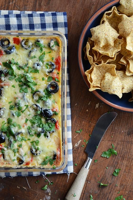 cheesy warm bean dip edible mosaic