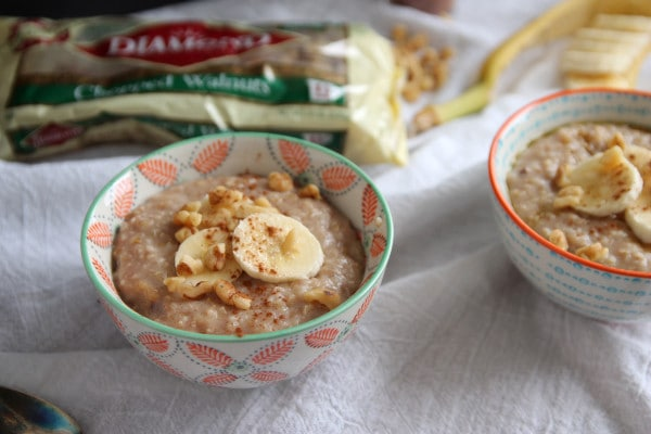 Banana Steel Cut Oatmeal with Walnuts
