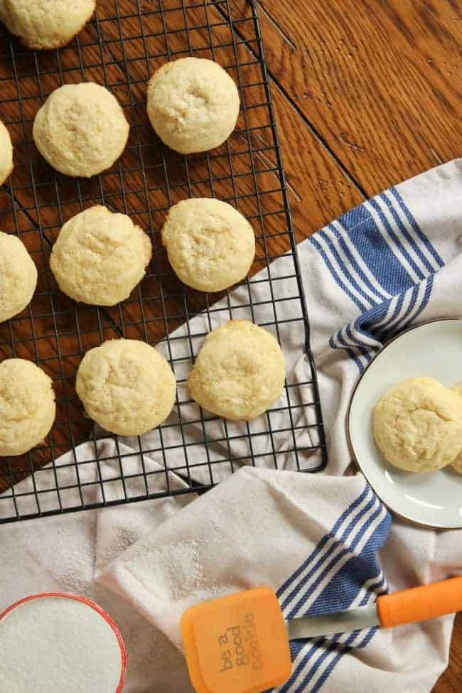 Pillowy Soft Sugar Cookies on cooling rack