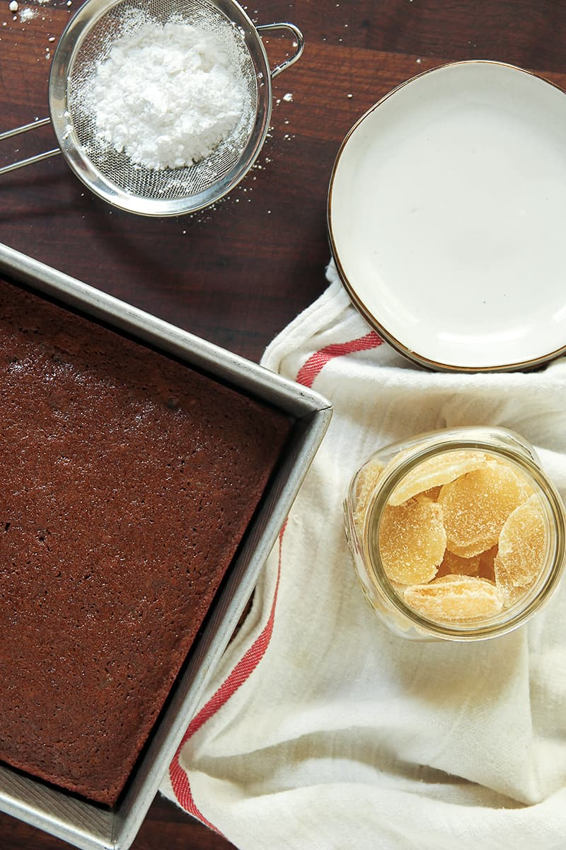 Double Gingerbread Cake is moist and spicy, full of candied ginger