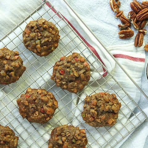 Fruitcake Cookies are full of candied and dried fruit, nuts and spices.