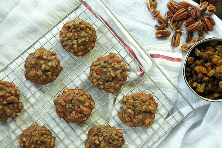 Fruitcake cookies are a delicious, bite-sized take on the traditional holiday dessert. They're like a chewy, fruity spice cookie!