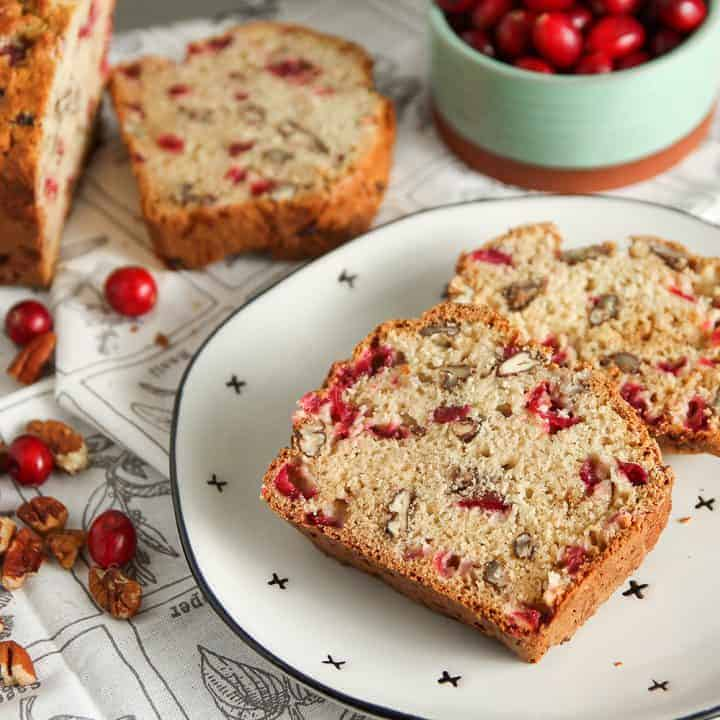 Cranberry Nut Bread is full of fresh cranberries and pecans. This is an easy quick bread you'll want to make again and again.