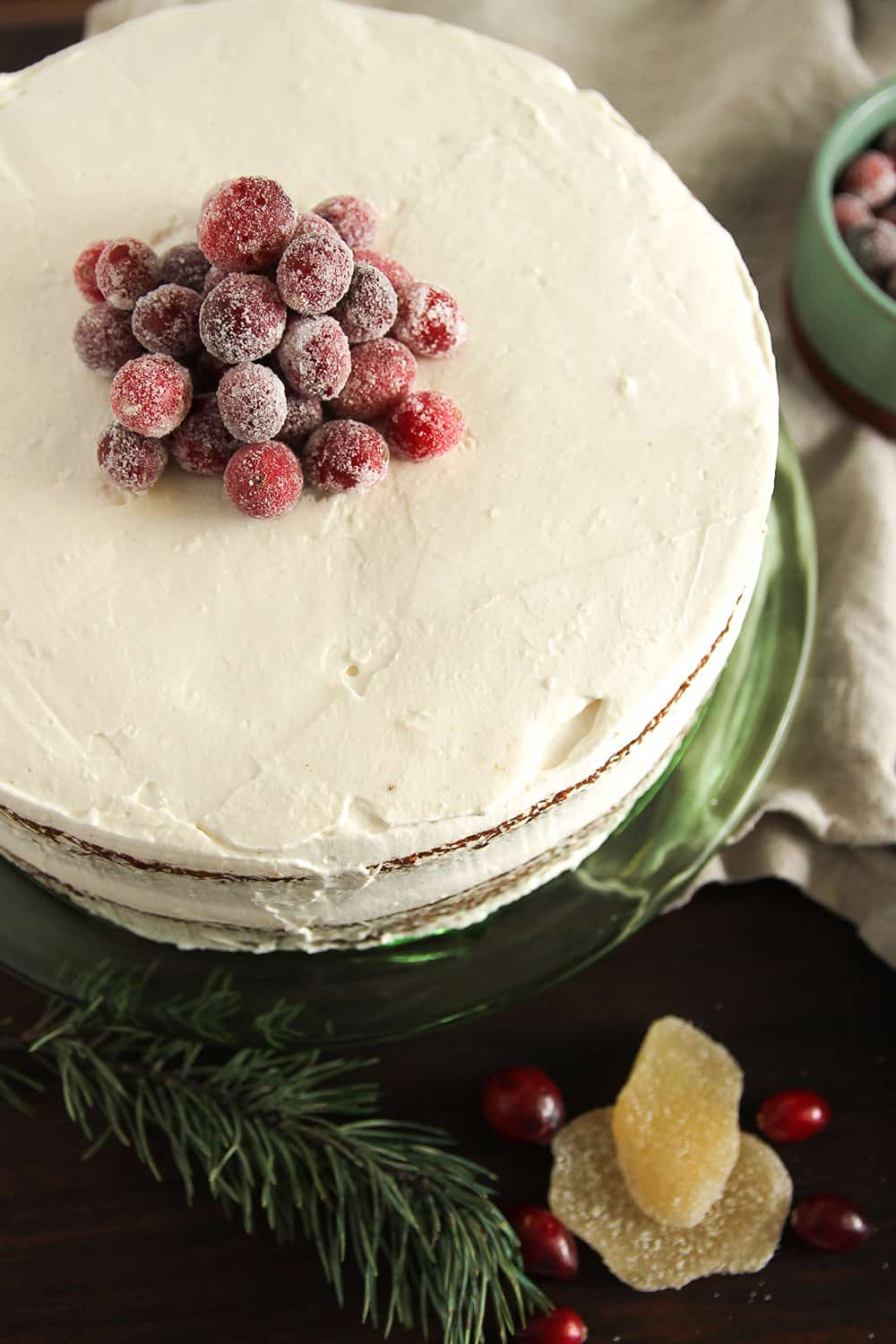 Sugared Cranberries are the perfect adornment to Gingerbread Layer Cake
