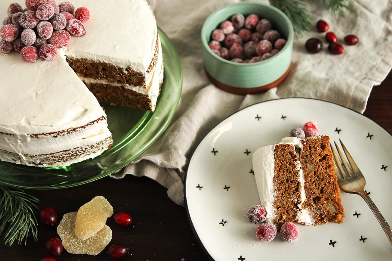 Gingerbread Layer Cake: Two layers of gingerbread cake topped with whipped cream frosting and sugared cranberries. It's wonderfully festive!