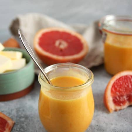 Grapefruit Curd is a great stand-in for lemon curd in any number of recipes! Make it with just a few ingredients, including tart ruby grapefruit.