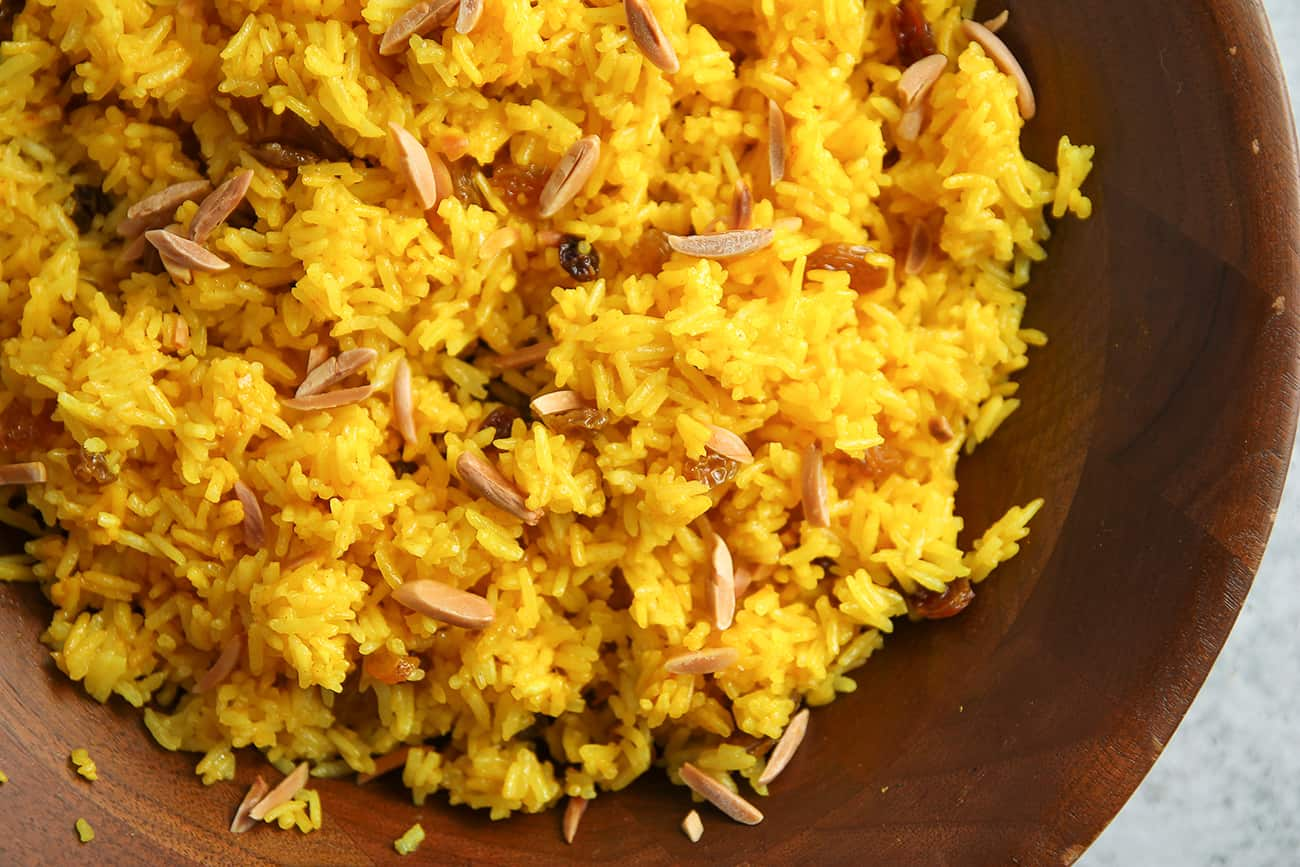 Ginger-Turmeric Rice is a perfect accompaniment to Quick Moroccan Chicken Stew