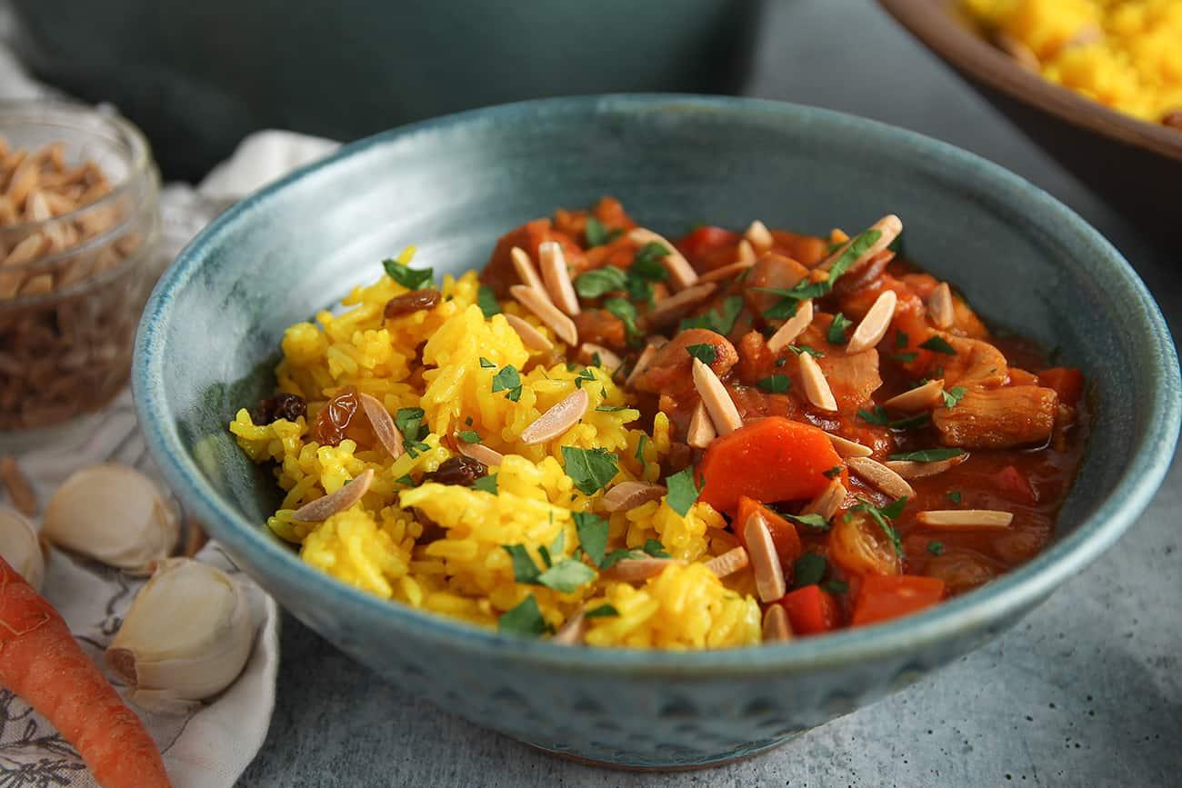 Quick Moroccan Chicken Stew is full of tender chicken, plump raisins and warm spices.