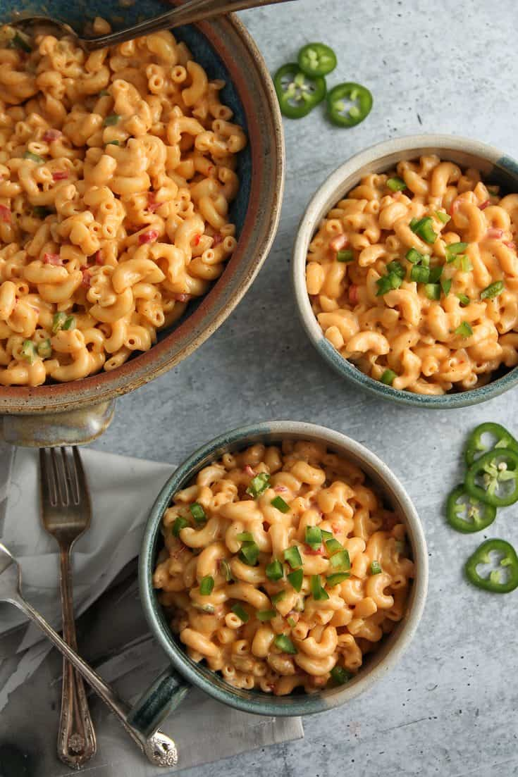 Green Chili Macaroni & Pimento Cheese combines tangy pimento cheese with diced green chilies and jalapeños for a creamy mac and cheese made in the Instant Pot!
