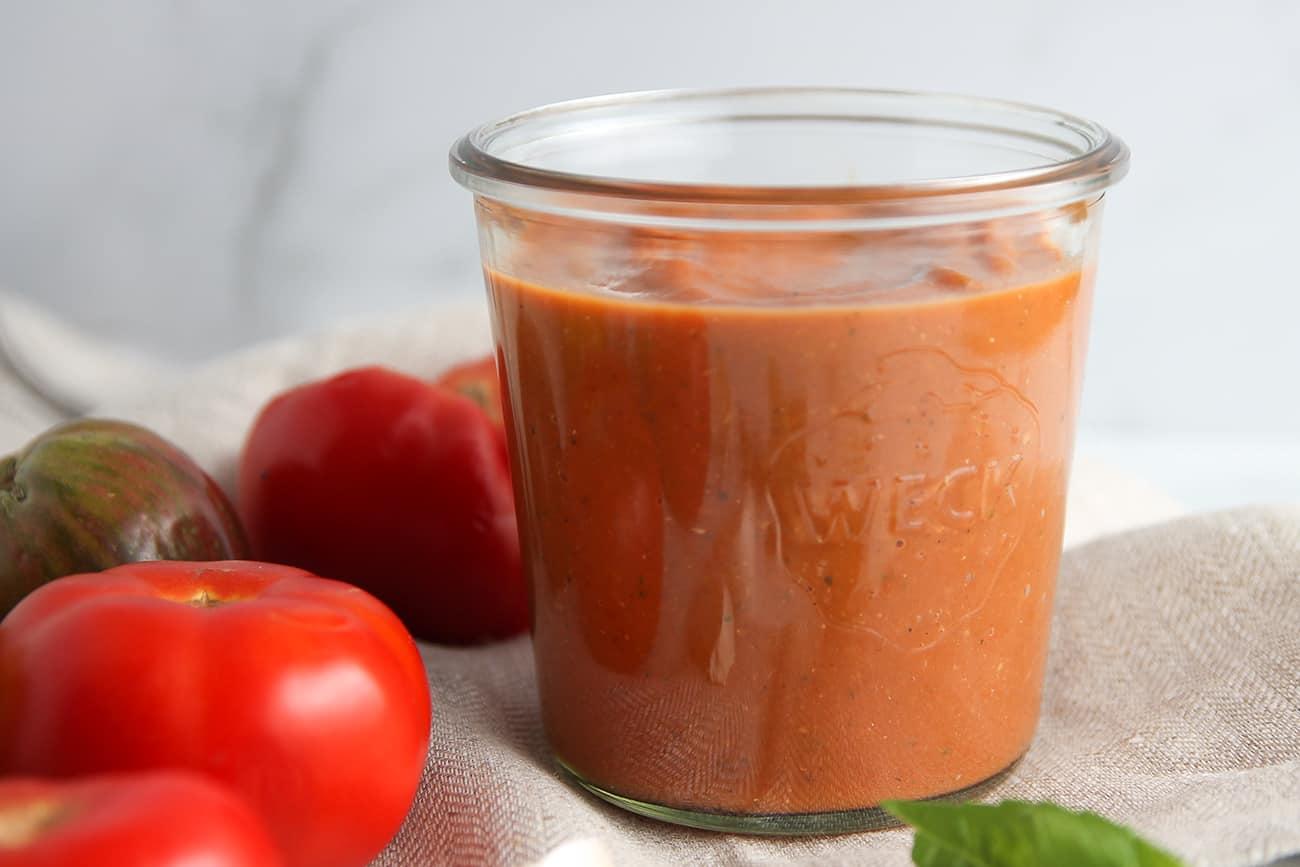 Fresh tomato sauce in a jar